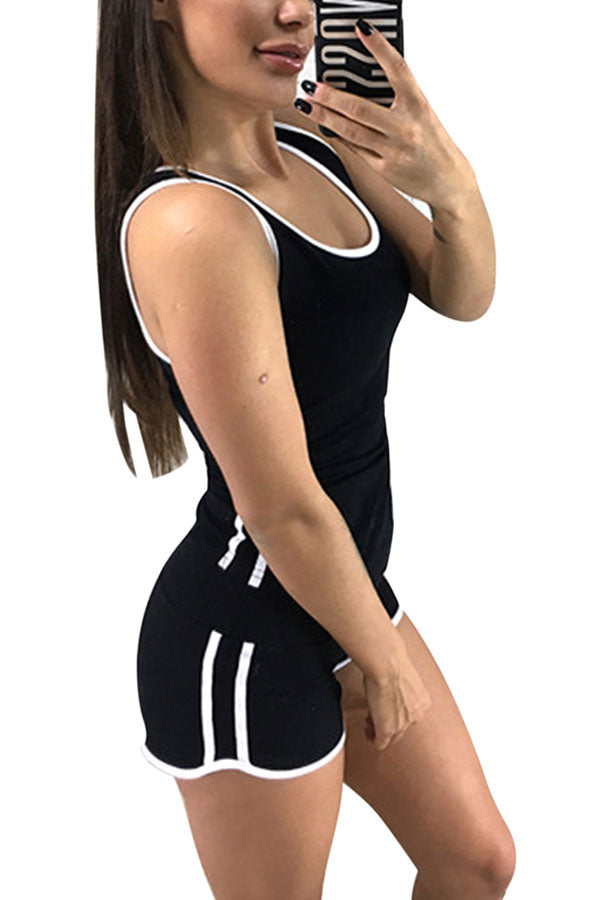 Women's Sleeveless Striped Shorts Set Casual Tracksuit Black