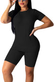 Women's 2 Piece Solid Short Sleeve Tee And Bodycon Shorts Tracksuit Set