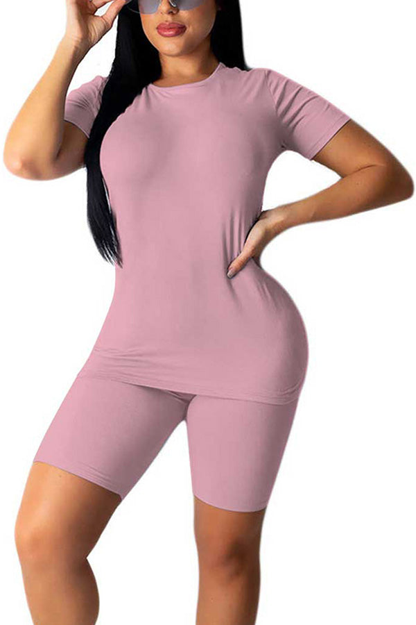 Women's 2 Piece Short Tracksuit Set Solid Short Sleeve T-Shirt And Short Set