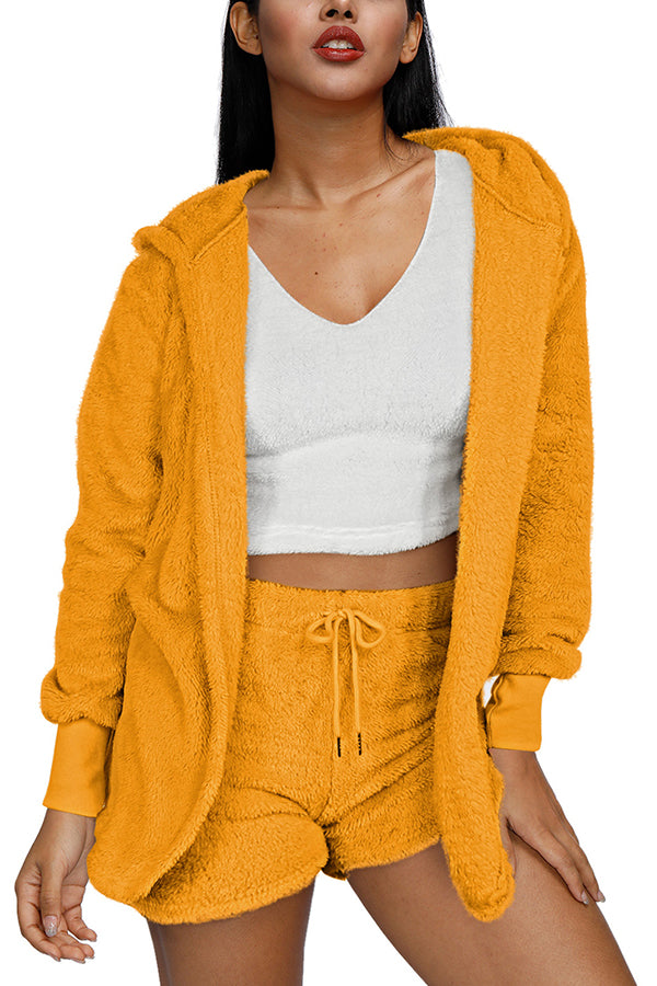 Women's Teddy Coat Crop Top And Shorts Fuzzy 3 Piece Outfit
