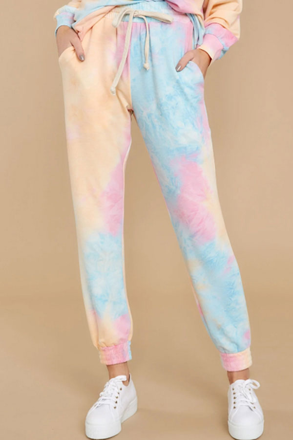 Women's Tie Dye Hoodie With Jogger Pants Pajama Set