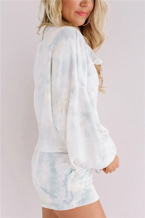 Long Sleeve Tie Dye T-Shirt And Shorts With Pocket Pajama Set