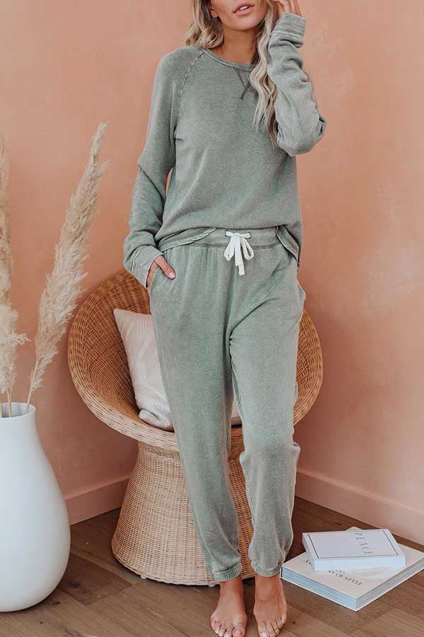 Solid Long Sleeve T-Shirt Jogger Pants With Pocket Sleepwear