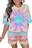 Women's Tie Dye Casual Tee And Shorts Pajamas Set Sleepwear