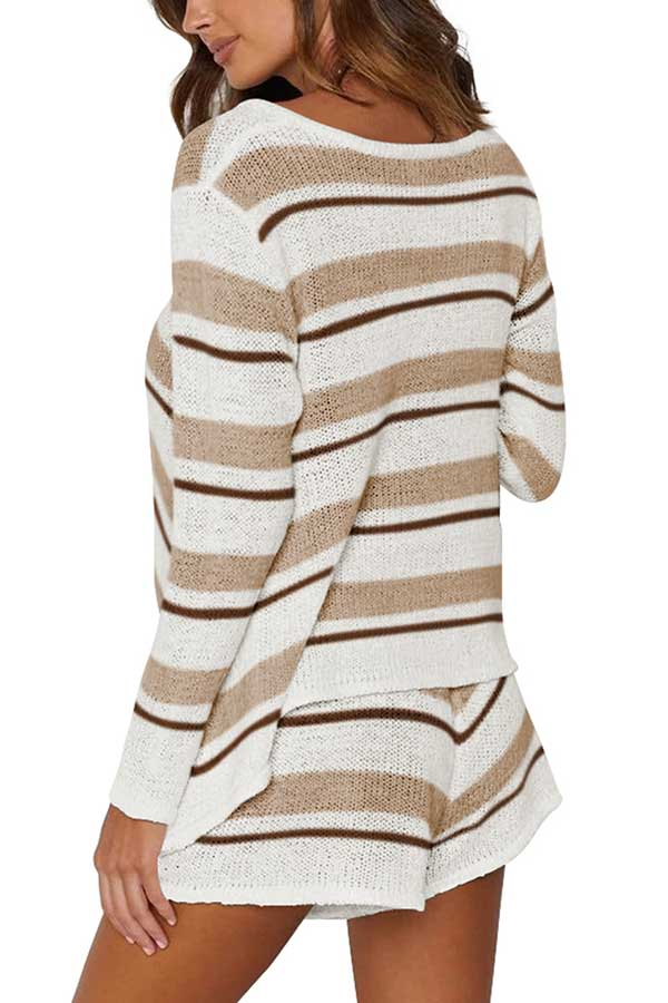 V Neck Long Sleeve Striped Sweater Shorts Set Brown