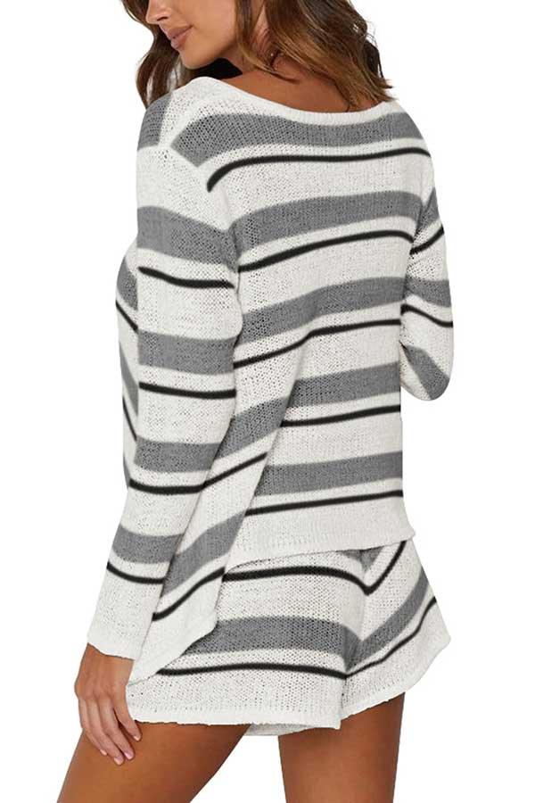 V Neck Striped High Waisted Shorts Sweater Set Gray
