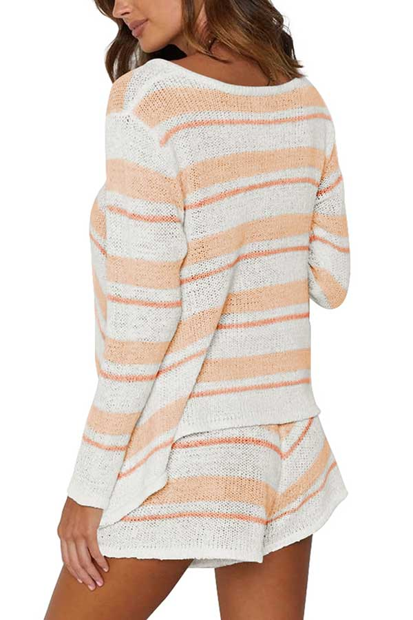 Long Sleeve Striped Top Shorts Knit Two Pieces Set Tangerine
