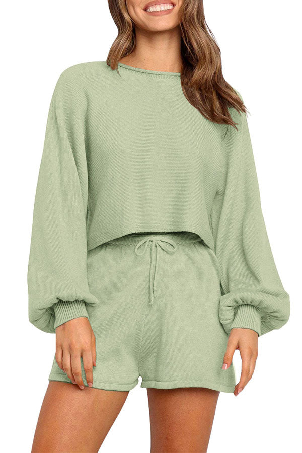 Puff Long Sleeve Crew Neck Top Sweat Shorts Leisure Suit Light Green
