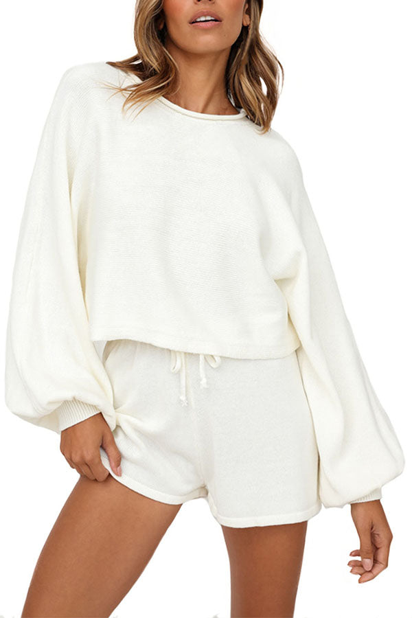 Lantern Long Sleeve Crop Top Drawstring Sweat Shorts Suit White