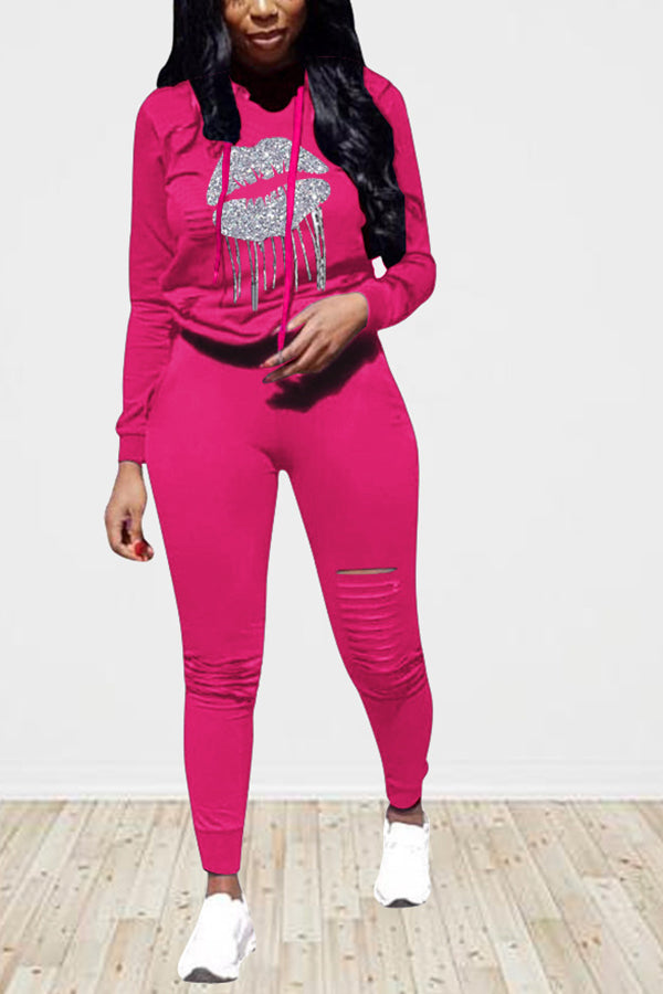 Lip Print Hoodie And Ripped Pants Sweatsuit For Women