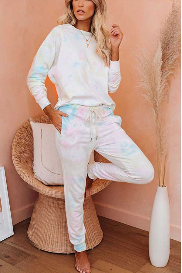 Tie Dye Long Sleeve Pants Two Piece Leisure Suit Pink