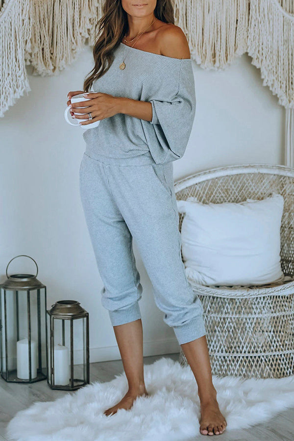 Casual One Shoulder Dolman Sleeve Solid Pajama Set Gray