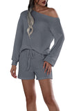 Off Shoulder Long Sleeve Waffle Knit Top Shorts Loungewear Gray
