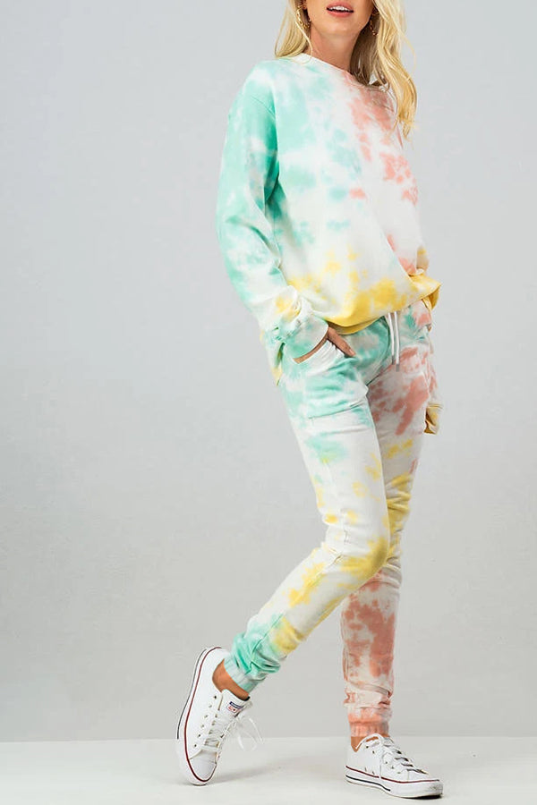 Tie Dye Sweatshirt High Waisted Jogger Set White