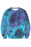 Long Sleeve Tie Dye Sweatshirt Jogger Pajama Set Navy Blue
