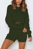 Cable Knit Crop Top Shorts Casual Sweater Suit Olive