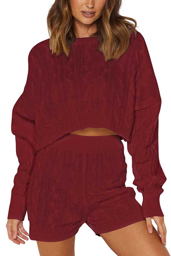 Casual Long Sleeve Crop Top Shorts Plain Knit Leisure Suit Ruby