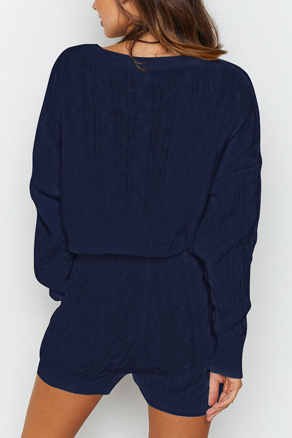 Cable Knit Long Sleeve Top Shorts Plain Pajama Set Navy Blue