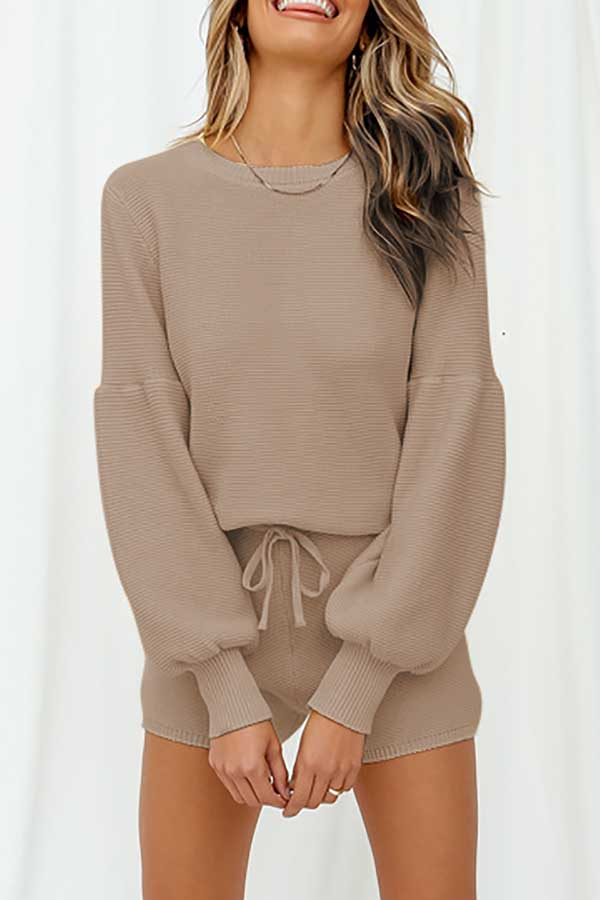 Long Sleeve Top Drawstring Waist Shorts Knit Pajama Set Khaki