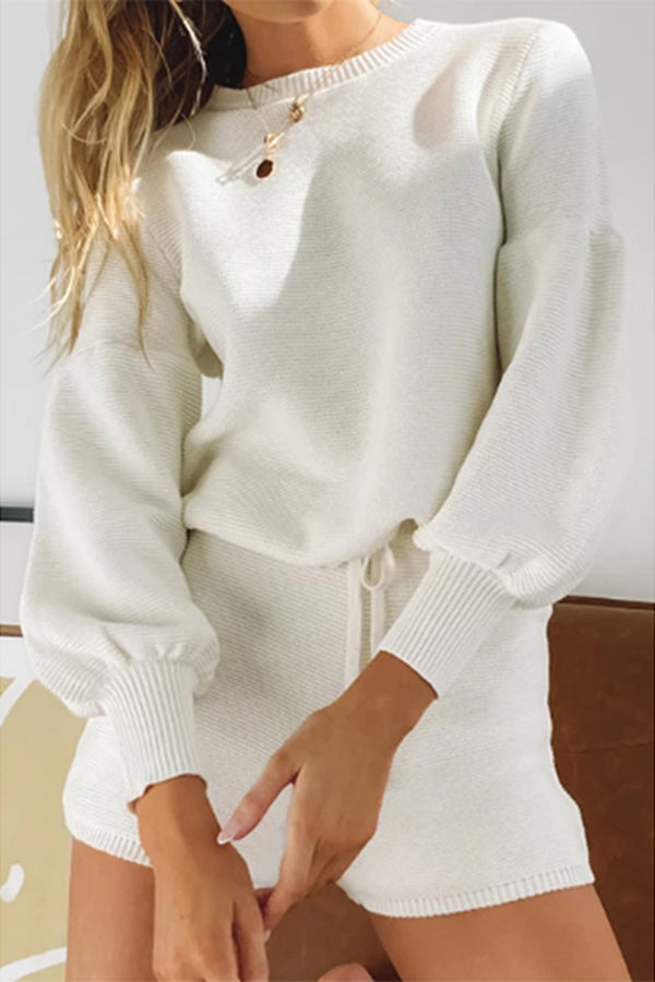 Casual Crew Neck Top Solid Shorts Knit Loungewear Set White