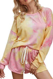 Tie Dye Long Sleeve Pullover Top Shorts Loungewear Pink