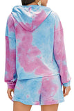 Tie Dye Drawstring Hoodie Roll Up Shorts Lounge Set Purple