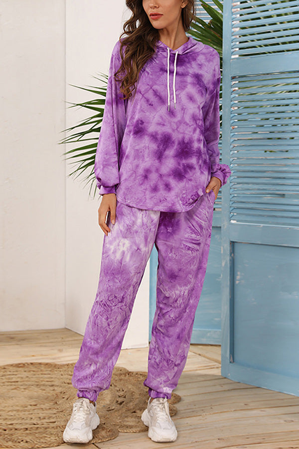 Tie Dye Hoodie Sweatpants Two Piece Tracksuit With Pocket Purple