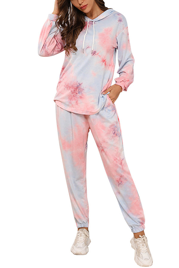 Drop Shoulder Top Elastic Waist Pants Tie Dye Sweatsuit Pink