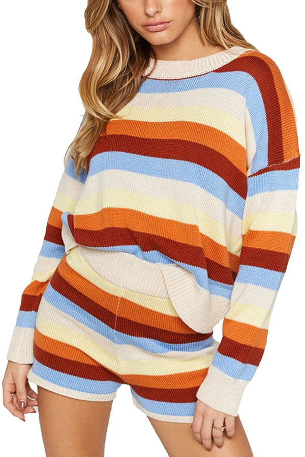 Striped Color Block Sweater Top And Short Set