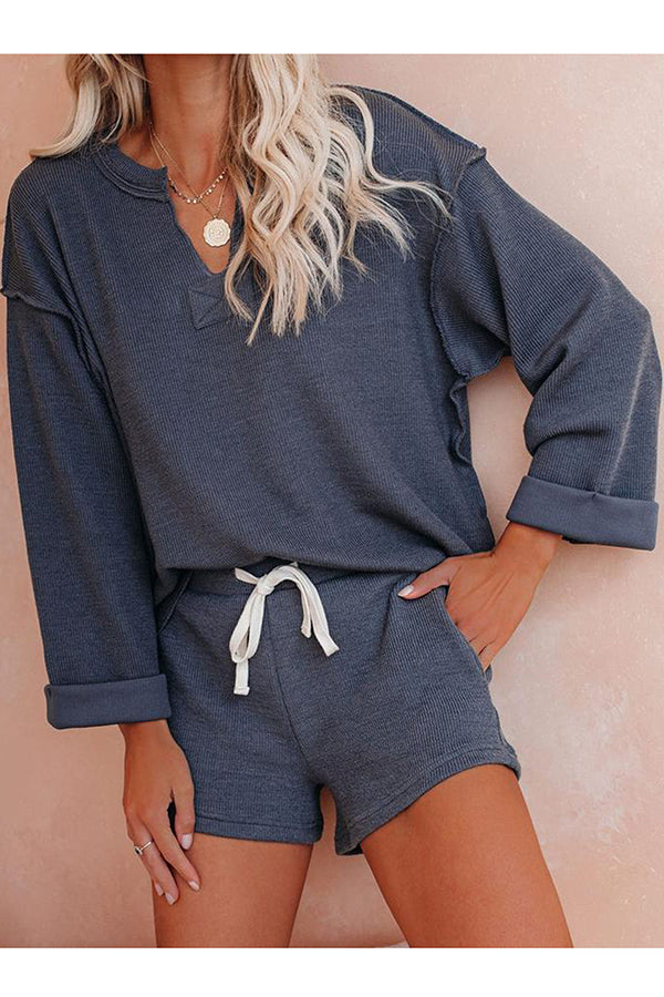 Women's Long Sleeve V Neck Pajama Set
