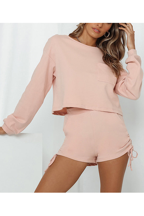 Solid Crop Top And Ruched Shorts Two Piece Lounge Sets