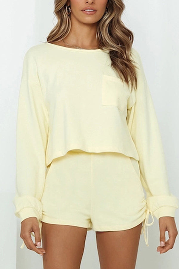 Long Sleeve Crop Top Ruched Side Loungewear
