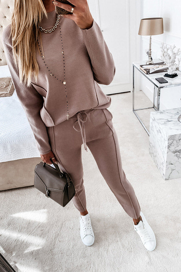 Solid Color Two Piece Outfit Womens Tracksuits