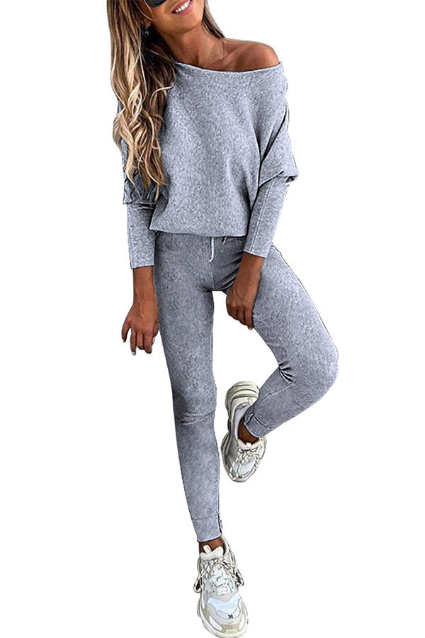 Women's Two Piece Suit Off Shoulder Top With Leggings