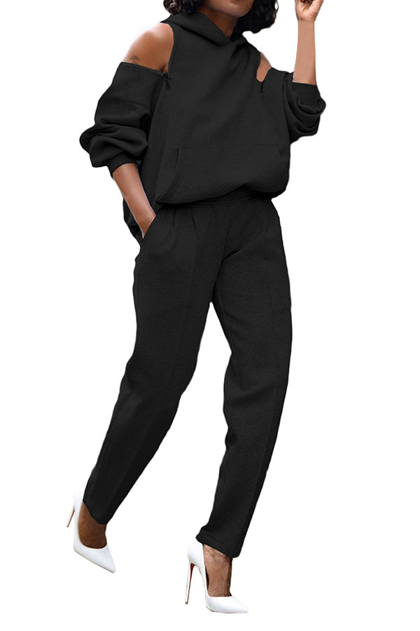 Solid Backless Hoodie Jogger Sweatpants Two Piece Outfit