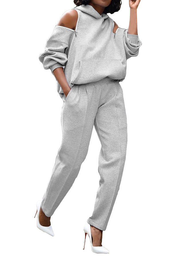 Cold Shoulder Hoodie Jogger Pants Two Piece Outfit