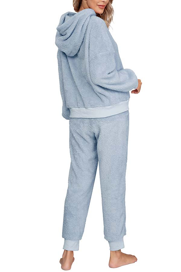 Womens Fleece Hooded Pullover And Pants Pajamas Outfits