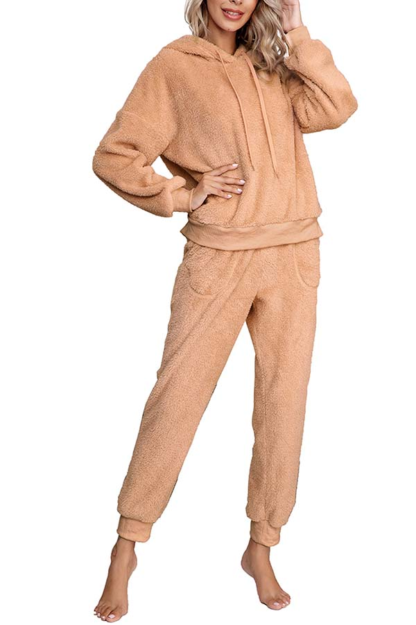 Solid Fluffy Hoodie Long Pants Pajamas Set