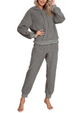 Womens Solid Fluffy Pajamas 2 Piece Outfits