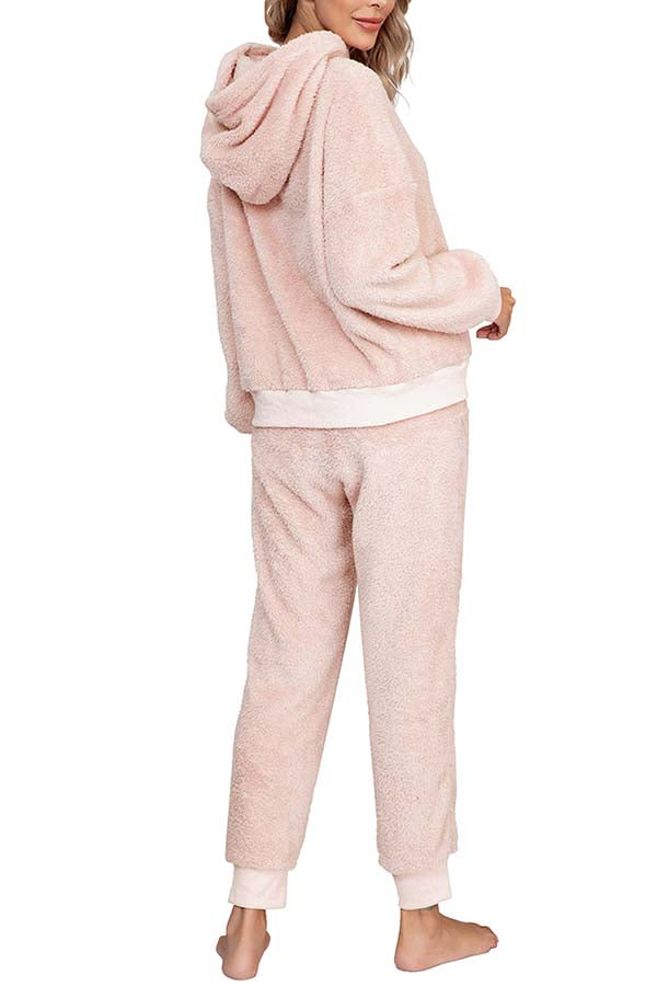 Solid Warm Hoodie And Pants Womens Tracksuit Set