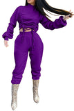 High Neck Ruched Top And Pants Womens Tracksuit Set