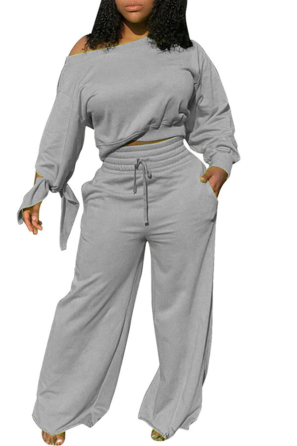 Crop Top High Waisted Pants Women's Solid Sweatsuit Set
