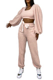 Lantern Sleeve Square Neck Crop Top And Jogger Tracksuit For Women