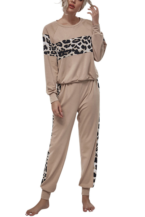 Leopard Top And Long Pants Two Piece Lounge Sets