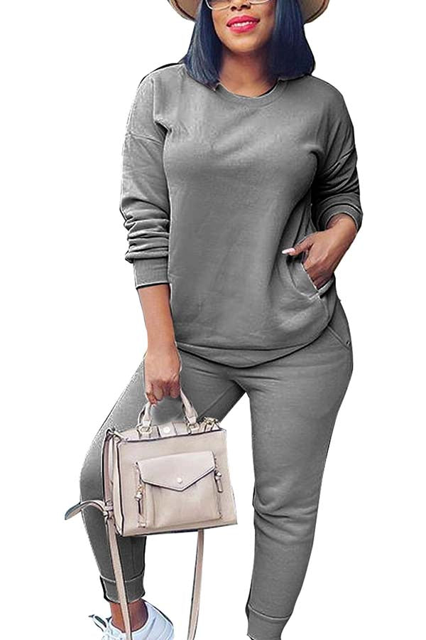 Two Piece Sweatsuit Pullover Top And Pants Set