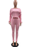 Ruched Sleeve Crop Top Women 2 Piece Tracksuit Outfits