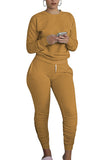 Crew Neck Ruched Joggers Track Pants Two Piece Set