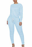 Solid Ruched Top And Pants Sports Tracksuit
