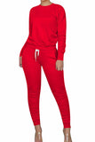 Crew Neck Top Jogger Pants Sweat Suits For Women Red