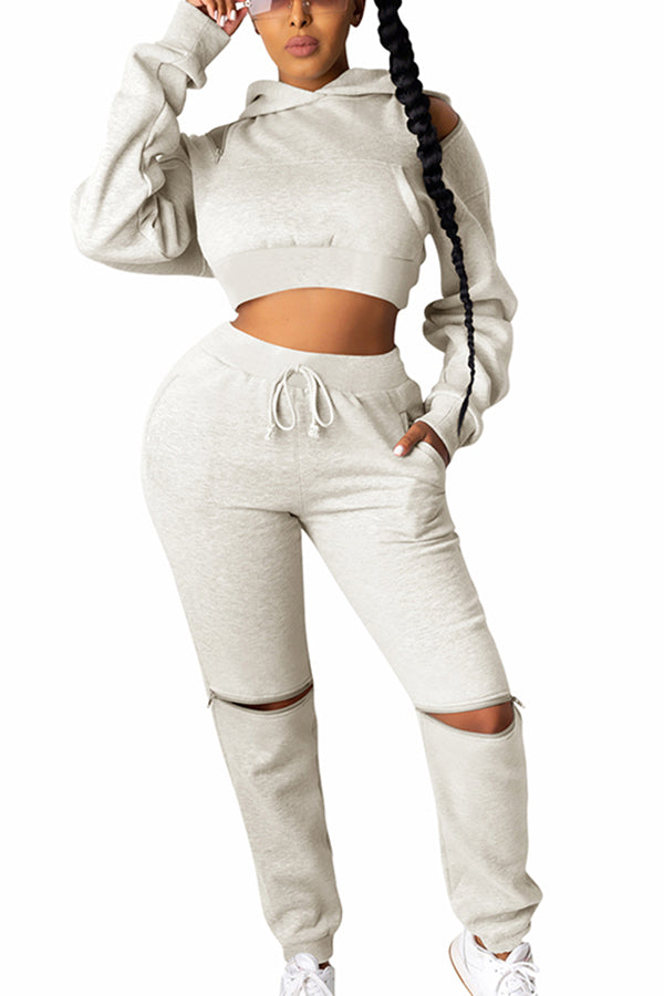 Crop Hoodie High Waisted Track Pants Plain Tracksuit